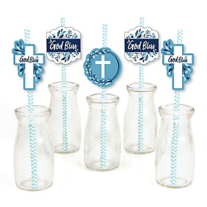 Blue Elegant Cross - Paper Straw Decor - Boy Religious Party Striped Decorative Straws - Set of 24