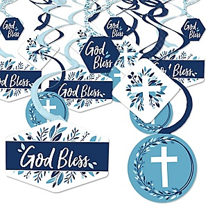 Blue Elegant Cross - Boy Religious Party Hanging Decor - Party Decoration Swirls - Set of 40