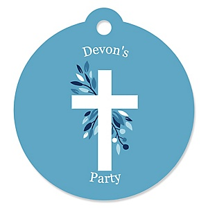 Blue Elegant Cross - Personalized Boy Religious Party Gift Tags - 20 ct