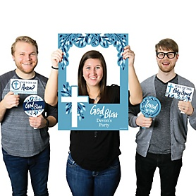 Blue Elegant Cross - Personalized Boy Religious Party Photo Booth Picture Frame and Props - Printed on Sturdy Material
