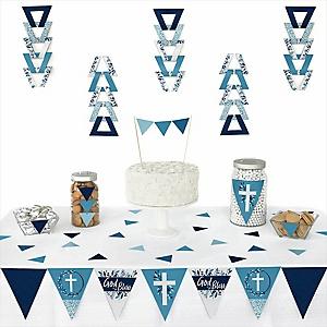 Blue Elegant Cross -  Triangle Boy Religious Party Decoration Kit - 72 Piece