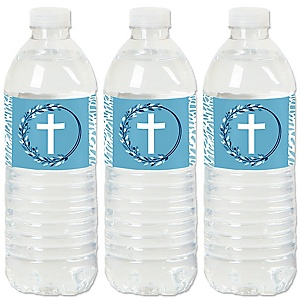 Blue Elegant Cross - Boy Religious Party Water Bottle Sticker Labels - Set of 20