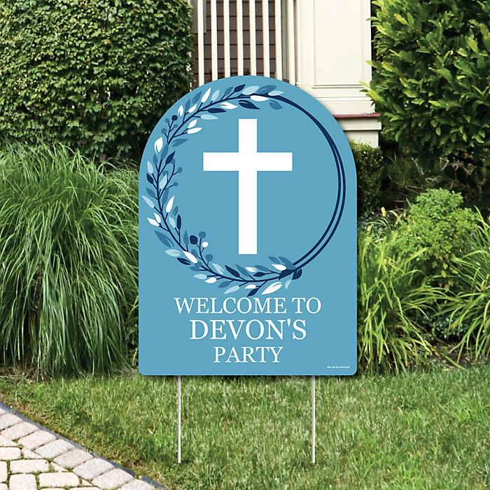 Blue Elegant Cross - Party Decorations - Boy Religious Party Personalized Welcome Yard Sign