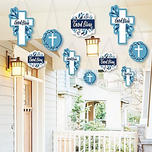 Hanging Blue Elegant Cross - Outdoor Boy Religious Party Hanging Porch and Tree Yard Decorations - 10 Pieces