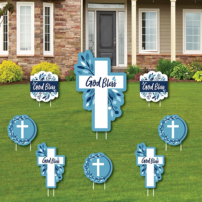 Blue Elegant Cross - Yard Sign and Outdoor Lawn Decorations - Boy Religious Party Yard Signs - Set of 8