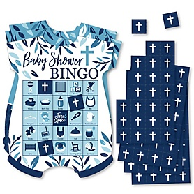 Blue Elegant Cross - Picture Bingo Cards and Markers - Boy Religious Party Shaped Bingo Game - Set of 18