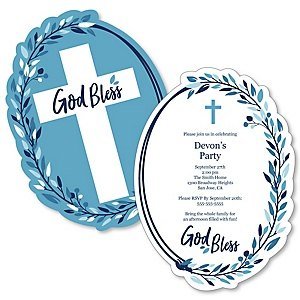 Blue Elegant Cross - Shaped Boy Religious Party Invitations - Set of 12