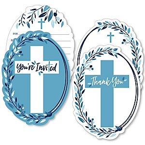 Blue Elegant Cross - 20 Shaped Fill-In Invitations and 20 Shaped Thank You Cards Kit - Boy Religious Party Stationery Kit - 40 Pack