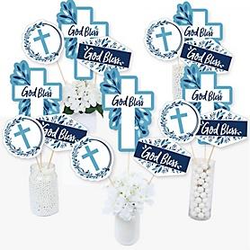 Blue Elegant Cross - Boy Religious Party Centerpiece Sticks - Table Toppers - Set of 15