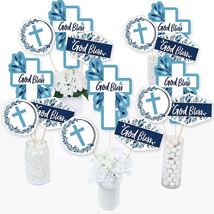 Blue Elegant Cross - Boy Religious Party Centerpiece Sticks - Table Toppers - Set of 15