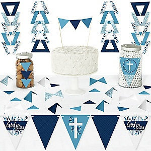 Blue Elegant Cross - DIY Pennant Banner Decorations - Boy Religious Party Triangle Kit - 99 Pieces
