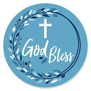 Blue Elegant Cross - Boy Religious Party Theme