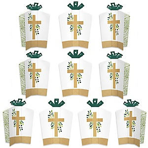 Elegant Cross - Table Decorations - Religious Party Fold and Flare Centerpieces - 10 Count