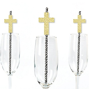 Gold Glitter Elegant Cross Party Straws - No-Mess Real Gold Glitter Cut-Outs and Decorative Religious Party Paper Straws - Set of 24