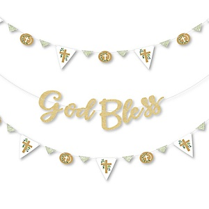 Elegant Cross - Religious Party Letter Banner Decoration - 36 Banner Cutouts and No-Mess Real Gold Glitter God Bless Banner Letters