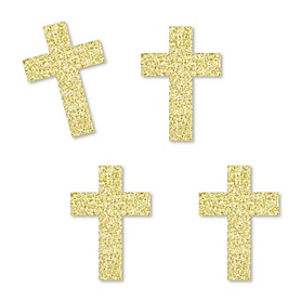 Gold Glitter Elegant Cross - No-Mess Real Gold Glitter Cut-Outs - Religious Party Confetti - Set of 24