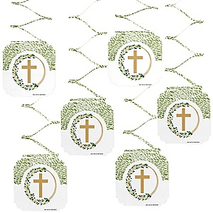 Elegant Cross - Religious Party Hanging Decorations - 6 Count