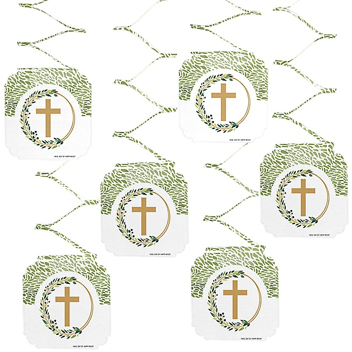 Elegant Cross - Religious Party Hanging Decorations - 6 Count