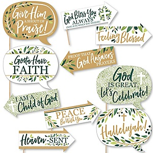 Funny Elegant Cross - Religious Party 10 Piece Photo Booth Props Kit