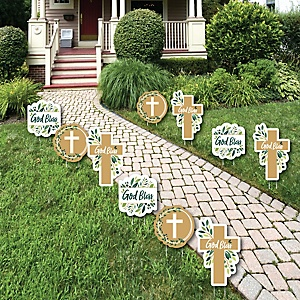 Elegant Cross - Lawn Decorations - Outdoor Religious Party Yard Decorations - 10 Piece