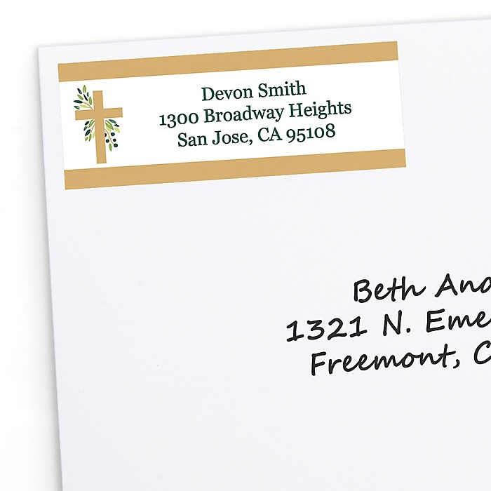 Elegant Cross - Personalized Religious Party Return Address Labels - 30 ct
