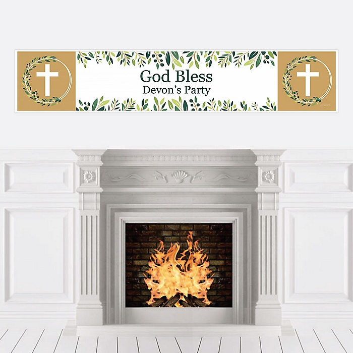 Elegant Cross - Personalized Religious Party Banner