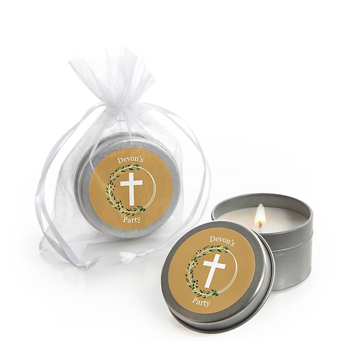 Elegant Cross - Personalized Religious Party Candle Tin Favors - Set of 12