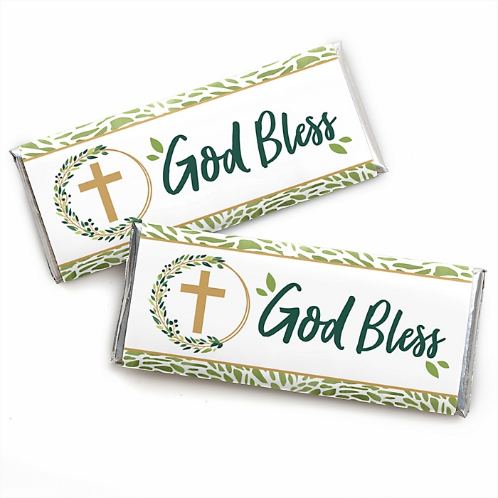 Elegant Cross -  Candy Bar Wrapper Religious Party Favors - Set of 24