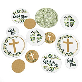 Elegant Cross - Religious Party Table Confetti - 27 ct