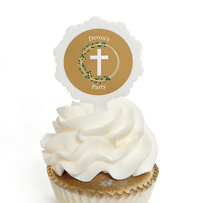 Elegant Cross - 12 Cupcake Picks & 24 Personalized Stickers - Religious Party Cupcake Toppers