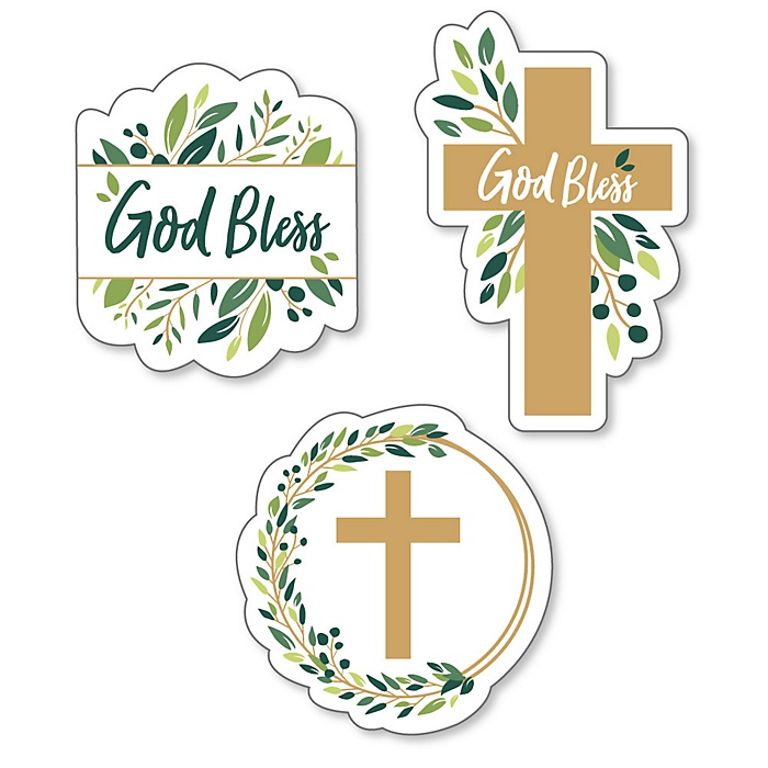 Elegant Cross - DIY Shaped Religious Party Cut-Outs - 24 ct