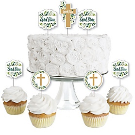 Elegant Cross - Dessert Cupcake Toppers - Religious Party Clear Treat Picks - Set of 24