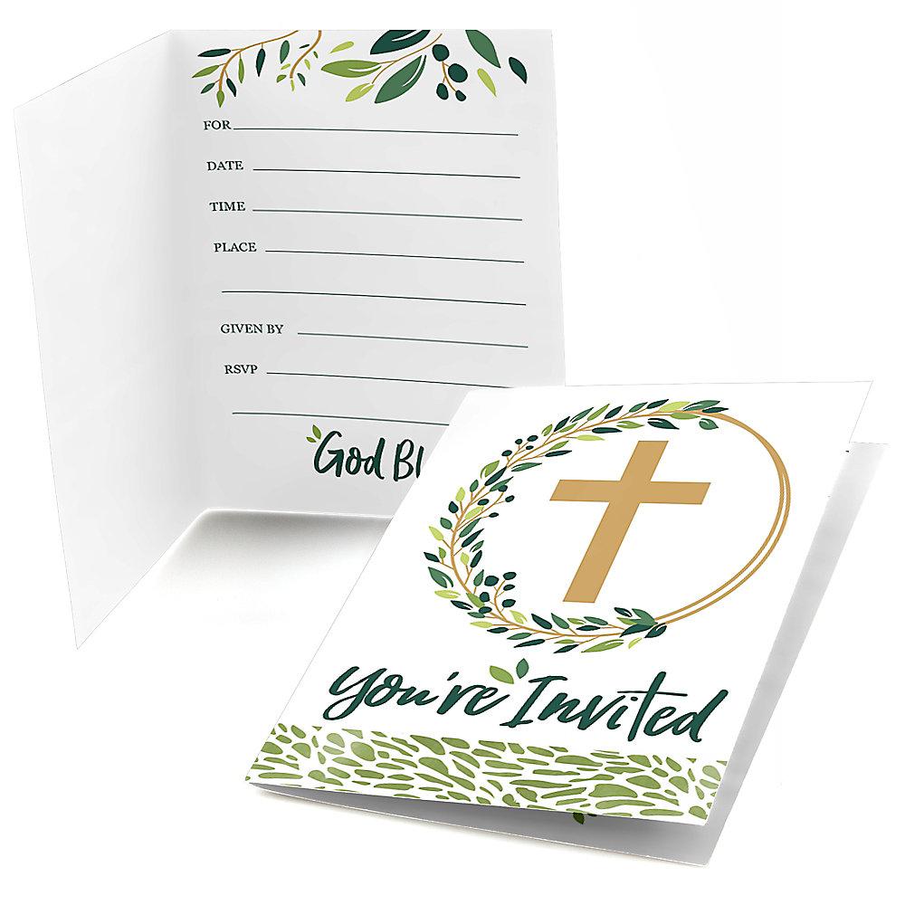 Elegant Cross Fill In Religious Party Invitations 8 Ct