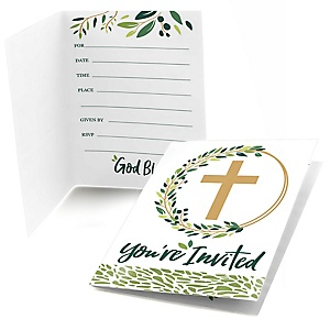 Elegant Cross - Fill in Religious Party Invitations - 8 ct