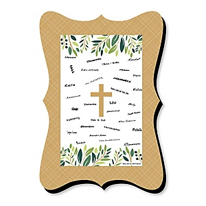 Elegant Cross - Unique Alternative Guest Book - Religious Party Signature Mat