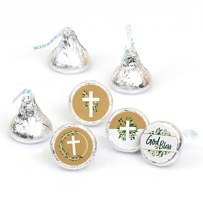 Elegant Cross - Religious Party Round Candy Sticker Favors - Labels Fit Hershey's Kisses  - 108 ct