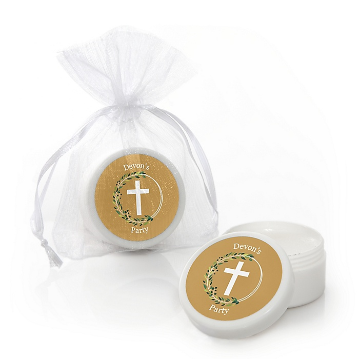 Elegant Cross - Personalized Religious Party Lip Balm Favors - Set of 12