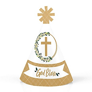 Elegant Cross - Personalized Mini Cone Religious Party Hats - Small Little Party Hats - Set of 10