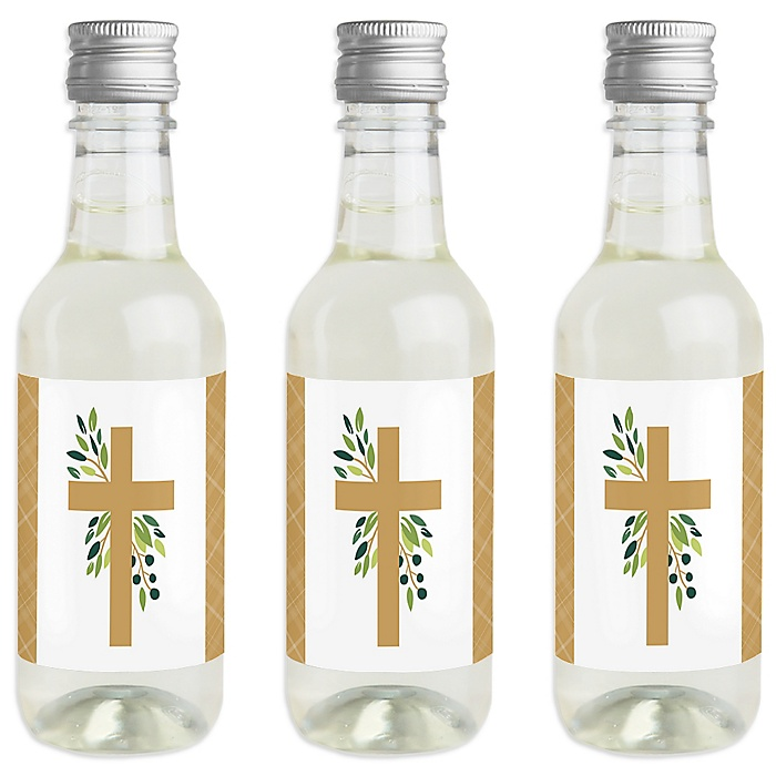 Elegant Cross - Mini Wine and Champagne Bottle Label Stickers - Religious Party Favor Gift for Women and Men - Set of 16
