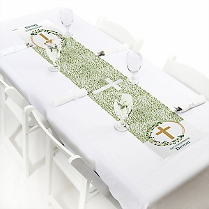 "Elegant Cross - Personalized Petite Religious Party Table Runner - 12"" x 60"""