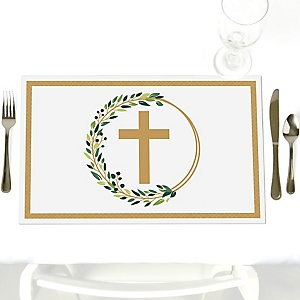 Elegant Cross - Party Table Decorations - Religious Party Placemats - Set of 12