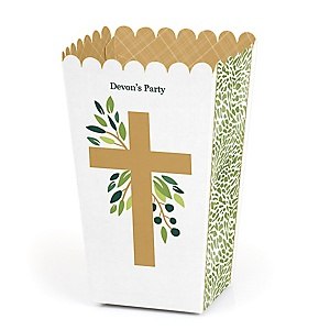 Elegant Cross - Personalized Religious Party Popcorn Favor Treat Boxes - Set of 12