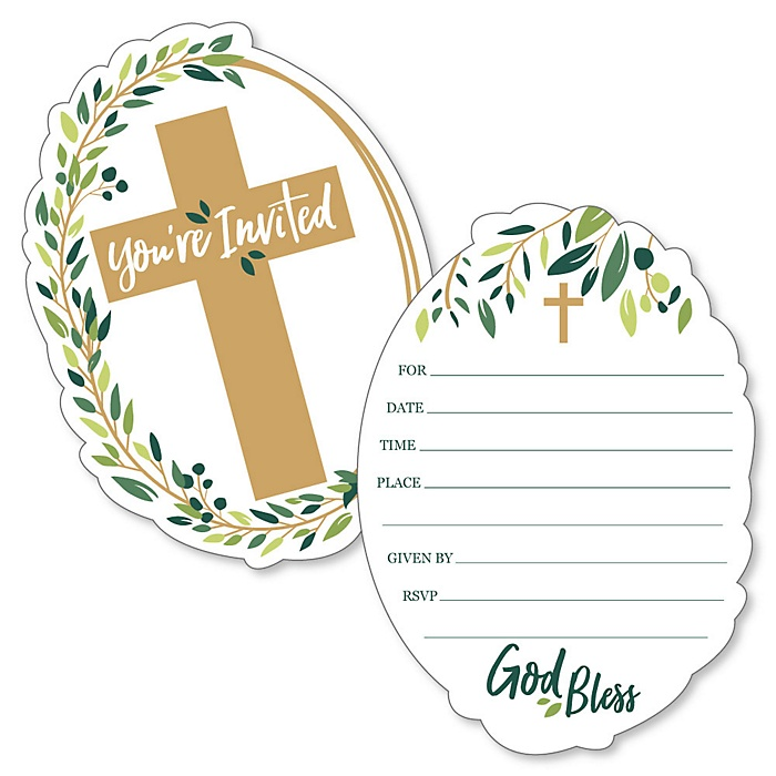 Elegant Cross - Shaped Fill-In Invitations - Religious Party Invitation Cards with Envelopes - Set of 12