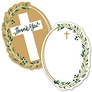 Elegant Cross - Shaped Thank You Cards - Religious Party Thank You Note Cards with Envelopes - Set of 12