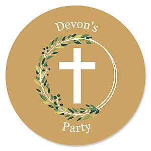 Elegant Cross - Round Personalized Religious Party Sticker Labels - 24 ct