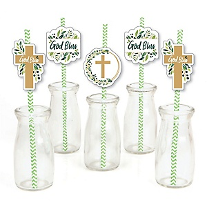 Elegant Cross - Paper Straw Decor - Religious Party Striped Decorative Straws - Set of 24