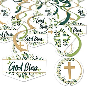 Elegant Cross - Religious Party Hanging Decor - Party Decoration Swirls - Set of 40