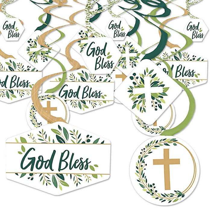 Elegant Cross - Religious Party Hanging Decor - Party Decoration Swirls - Set of 40
