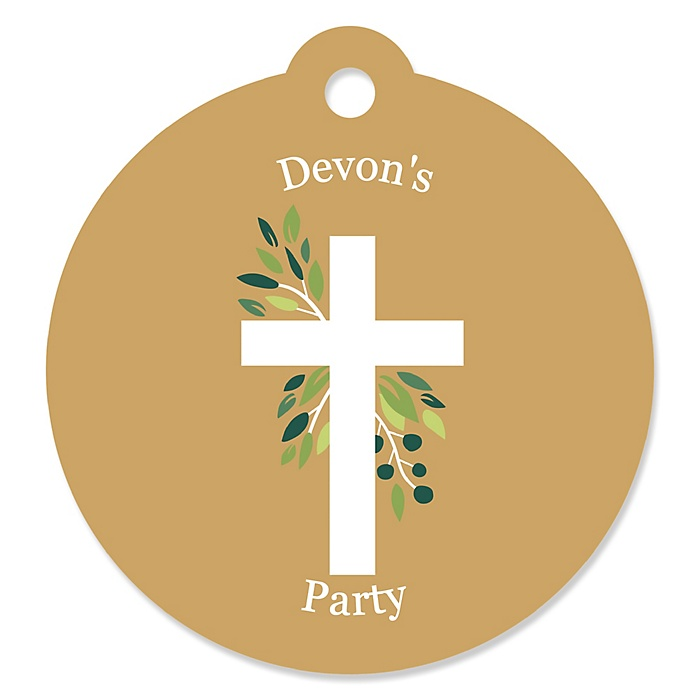 Elegant Cross - Personalized Religious Party Gift Tags - 20 ct