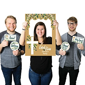 Elegant Cross - Personalized Religious Party Photo Booth Picture Frame and Props - Printed on Sturdy Material